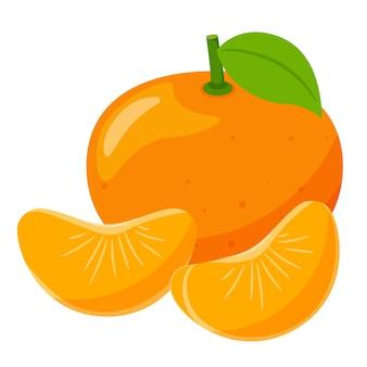 Целый мандарин с листьями и двумя дольками рядом друг с другом. фрукты.