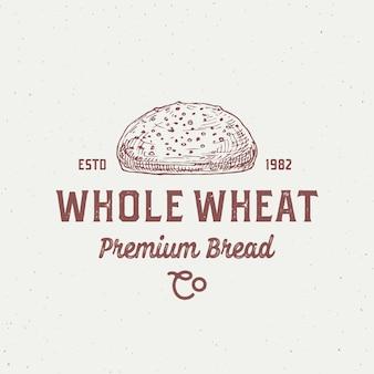 Шаблон логотипа цельнозернового хлеба, рисованный хлеб и концепция местной пекарни в стиле ретро