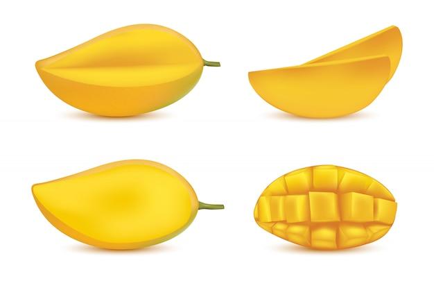 Целое желтое манго с половиной листьев, изолированные на белом фоне