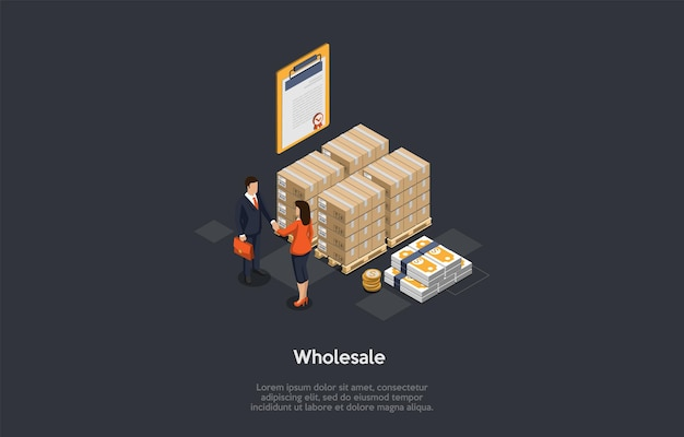 Wholesale products, items, goods and merchandise concept. business partners making deal. goods packed in boxes, stack of money and certificate of quality.