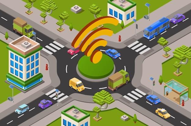 Умный городской транспорт и технология wi-fi 3d-иллюстрация городского перекрестка