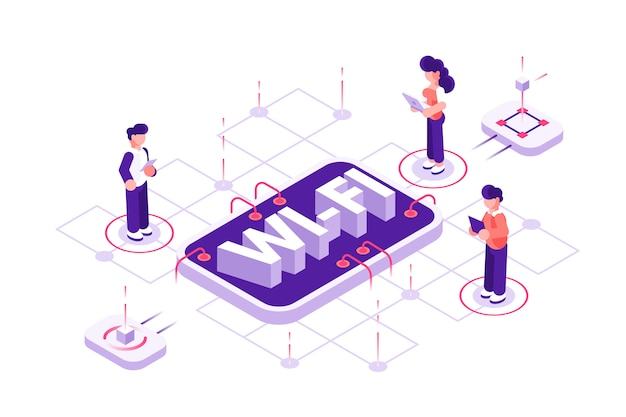 Wi-fi concept. free wifi hotspot, public assess zone. flat isometric vector illustration isolated. people with mobile devices are standing near phone. internet, net. zone working on laptop,smartphone