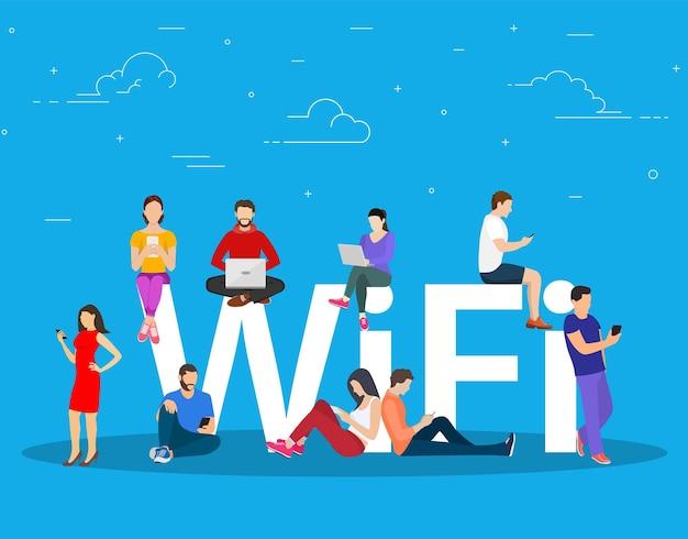 Wi-fi гигантские буквы и люди.
