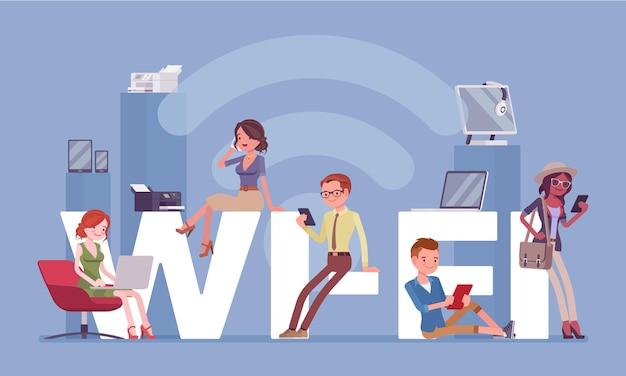 Wi-fi гигантские буквы и люди