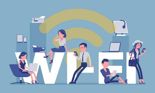 Wi-fiの巨大な文字と人々