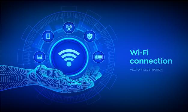 Значок wi-fi в руке робота. концепция беспроводного подключения. концепция технологии бесплатного сигнала сети wi-fi