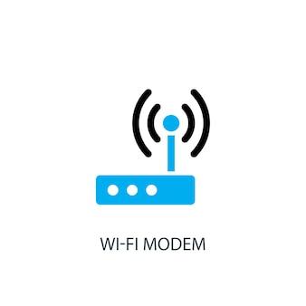 Значок модема wi-fi. иллюстрация элемента логотипа. дизайн символа модема wi-fi из 2-х цветной коллекции. простая концепция модема wi-fi. может использоваться в интернете и на мобильных устройствах.