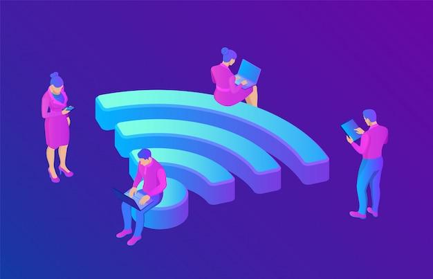 Вай-фай. люди в общественных местах с бесплатным wi-fi. общественная оценка зоны. 3d изометрии.