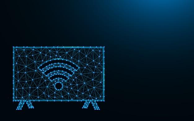 暗い青色の背景、プラズマテレビのワイヤフレームメッシュの多角形の図の点と線から作られたwi-fiテレビ
