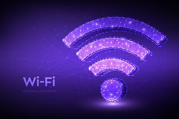 Wi-fiネットワークアイコン。低多角形の抽象的なwi fiサイン。 wlanアクセス、無線ホットスポット信号シンボル。