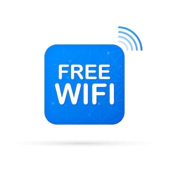 Зона бесплатного wi-fi синий значок. бесплатный wi-fi здесь подписывает концепцию.