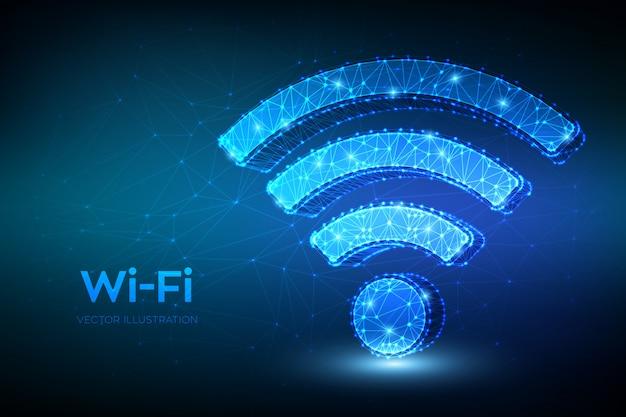 Wi-fiネットワークアイコン。低多角形の抽象的なwi fiサイン。