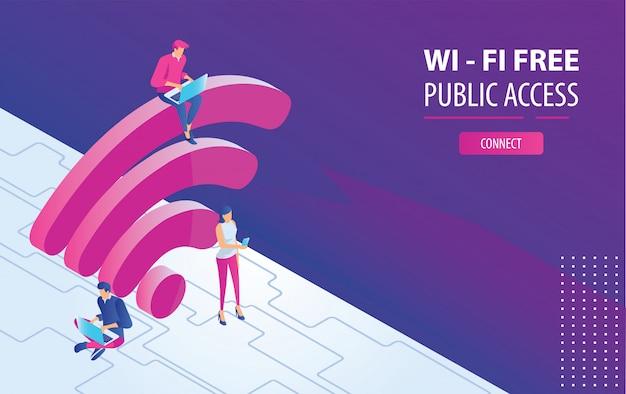 Изометрические люди, работающие на ноутбуках, сидя на большой wi-fi, войдите в бесплатную точку доступа wi-fi