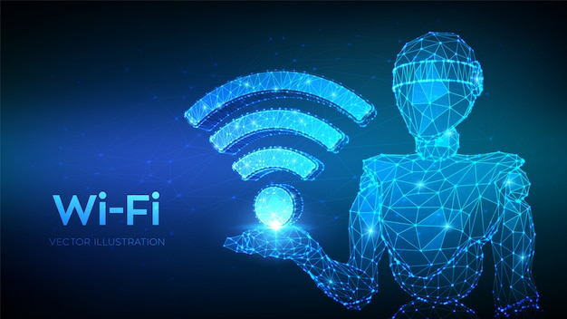Wi-fi。 wifiアイコンを保持している抽象的な3 d低ポリゴンロボット。