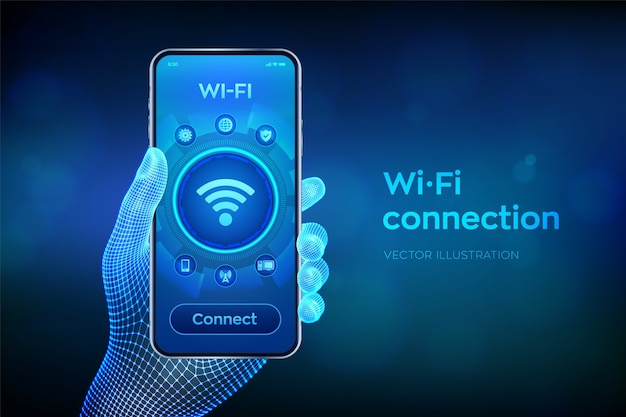 Wi fi 무선 연결 개념. 무료 wifi 네트워크 신호 기술 인터넷 개념. 와이어 프레임 손에 근접 촬영 스마트 폰입니다.