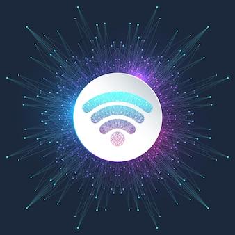 Концепция беспроводного подключения wi-fi. знак значка беспроводной сети wi-fi для удаленного доступа в интернет. концепция интернет технологии сигнала беспроводной сети wi-fi. высокая скорость интернета. векторная иллюстрация.