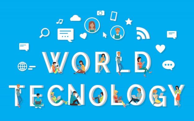 Мир техники большими белыми буквами и люди рядом с ними используют современные гаджеты. белые признаки поиска, сообщения, wi-fi, фотографии и симпатии над буквами. визуализация глобальной сети