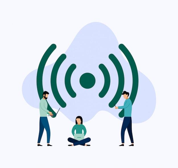 Общественный бесплатный wi-fi зона беспроводного подключения, бизнес иллюстрация