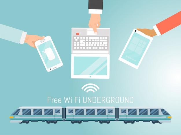 Бесплатный wi-fi подземный поезд, бесплатный быстрый интернет метро иллюстрации. концепция рука держать мобильный гаджет и ноутбук.