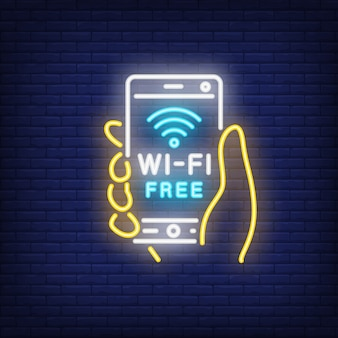 手持ちのスマートフォン、wi-fiフリーネオンテキストで