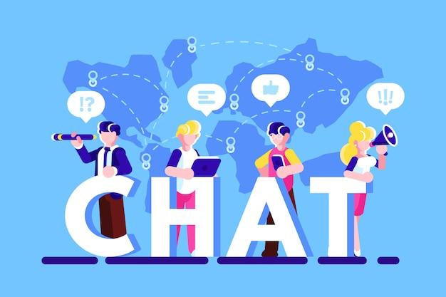 スマートフォン、ラップトップを使用し、インターネット経由でチャットしている人々。 wi-fiのコンセプト。ソーシャルメディア。ソーシャルネットワーク。ブログ。ビジネスチャット。対話の吹き出し。チャット。分離された平面ベクトル図