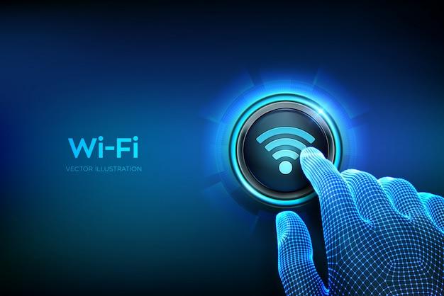 Кнопка wi fi. концепция подключения к беспроводной сети. крупным планом палец собирается нажать кнопку.