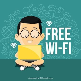 Фон мальчик с ноутбуком, подключен к wi-fi