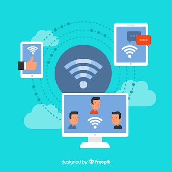 Концепция зоны wi-fi с сигналом