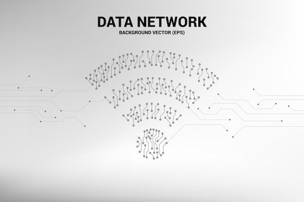 ベクトルドットはライン回路基板スタイルのモバイルデータアイコンを接続します。 wi-fiのコンセプト