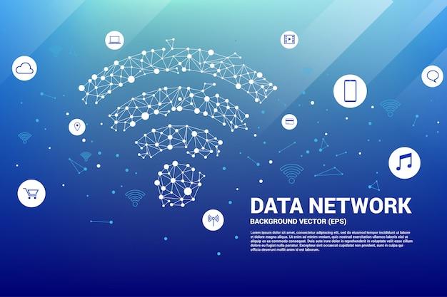 ポリゴンモバイルデータアイコン。モバイルおよびwi-fiデータネットワークのデータ転送の概念