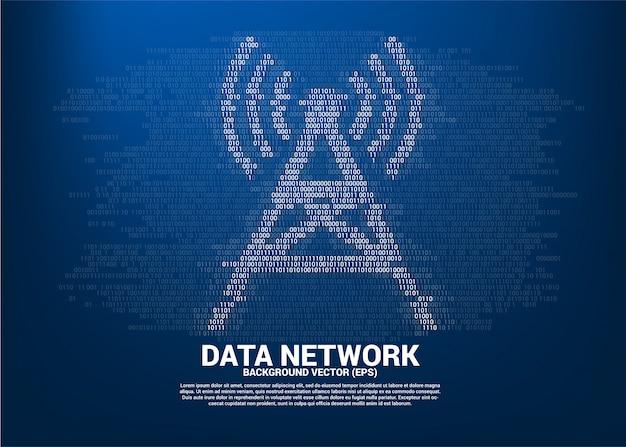 ベクトルアンテナタワーアイコンバイナリコードスタイル。モバイルおよびwi-fiデータネットワークのデータ転送の概念