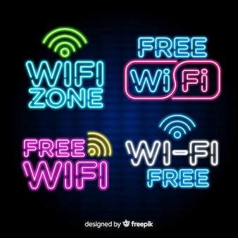 Коллекция неоновых знаков wi-fi