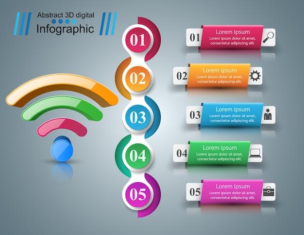ビジネスインフォグラフィックス。 wi-fiアイコン。