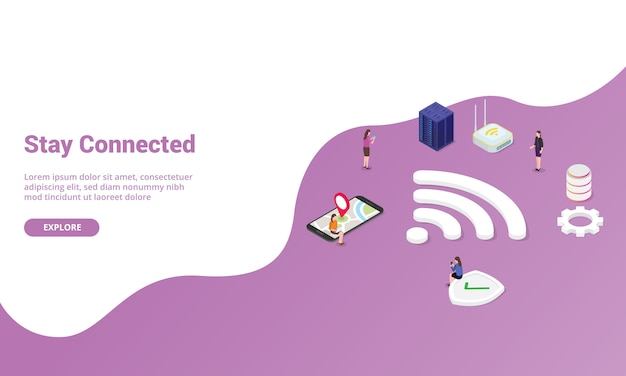 Оставайтесь на связи концепция с сигналом wi-fi для шаблона веб-сайта или целевой страницы в изометрическом современном стиле