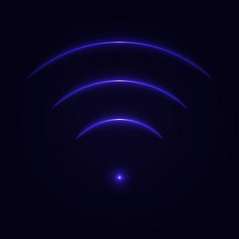 Светятся неоновые wi-fi знак.