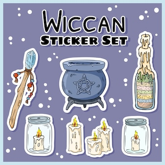 Wiccan stickers set