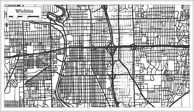 Wichita kansas usa city map in retro style. outline map. vector illustration.