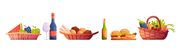 Злые корзины с едой и напитками, изолированные вектор фрукты и овощи, бокал для вина и пивная пекарня