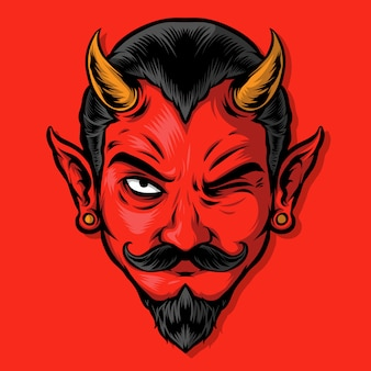 Wicked red devil illustration