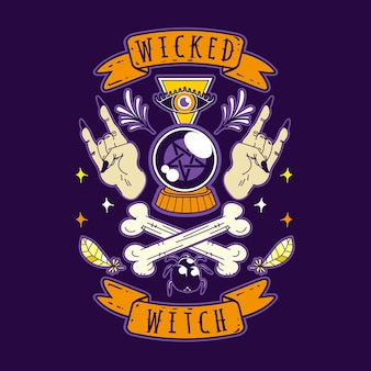 Wicked witch halloween vector illustration