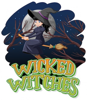 Wicked witches on night background