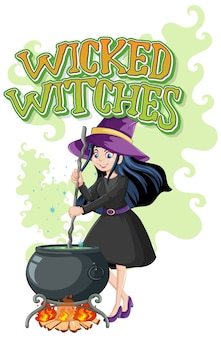 Wicked witches on white background