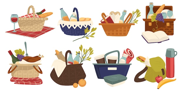 Wicker bakets with food and drinks, picnic blanket, outdoor dining