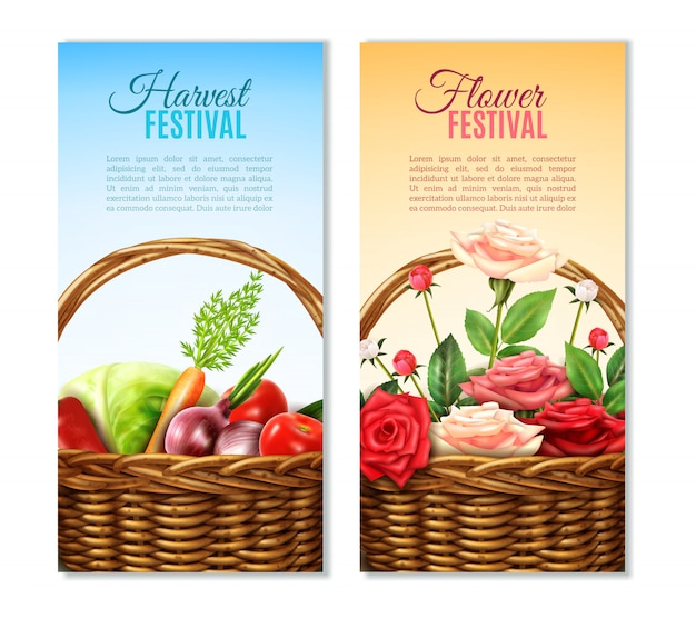 Wicker  basket  2 vertical banners set