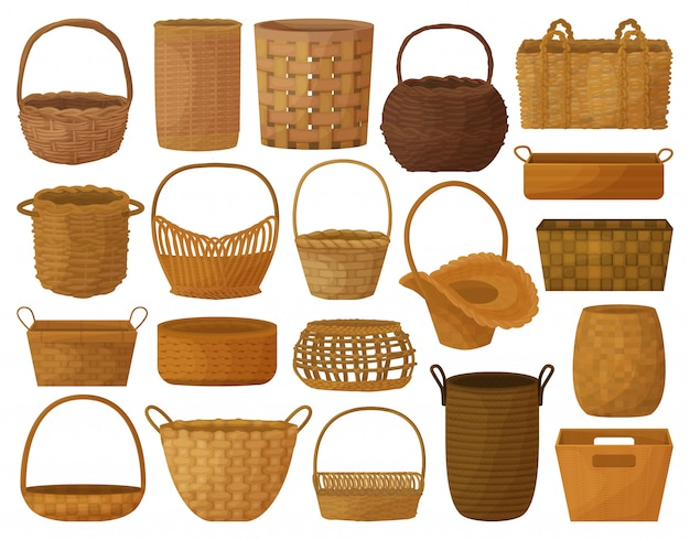 Wicker basket cartoon set icon. illustration wooden accessory on white background. isolated cartoon set icon wicker basket.