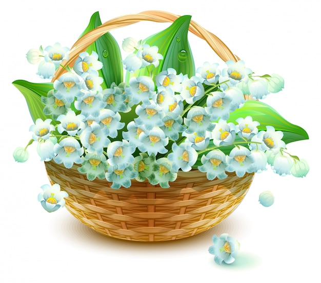 Wicker basket of flowers. flower lily valley. bouquet lily of valley