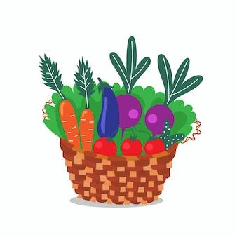 Wicker basket healthy vegetables