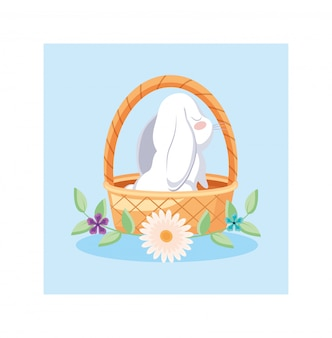 Плетеная корзина с милым кроликом