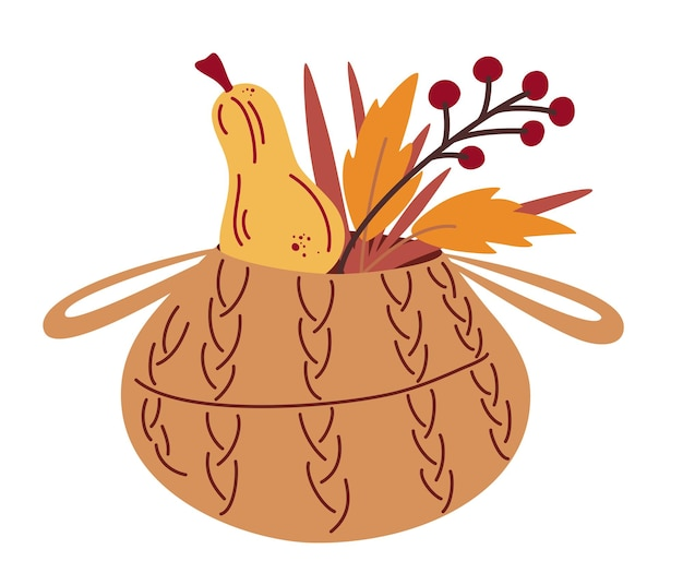 Wicker basket with pumpkin, leaves and berries. autumn harvest. vegetarian fresh farm market