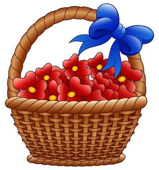 Плетеная корзина с красными цветами и синими луками